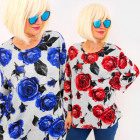 4702 Effective Blouse, Large Size, Big Roses
