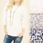 C11361 Haariger, weicher Pullover, Silberfaden
