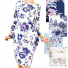 4501 Sweatshirt Dress, Loose Style, Floral Pattern