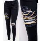 B16808 Women Jeans, Pants with Gold Chains, Black