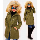 4412 Long Ladies' Jacket with Fur, Green