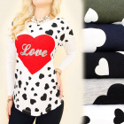 K464 Autumn Blouse, Top, Long Sleeve, Heart Love