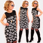 A1018 Pencil Dress, pattern Roses, Trendy Neckline