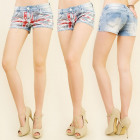 B16517 BEAUTIFUL JEANS SHORTS, FRONT BRITISH FLAG