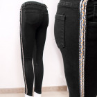 B16828 Women Jeans Pants, Silver Stripe