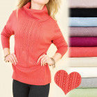 C17376 Warm and Loose Sweater, Large Sizes, Pearls