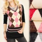 C17207 Suéter de moda, chaleco, diamantes, LanaMer