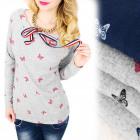 C11441 Bluse mit Schleife, schöner Ausschnitt mit