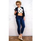 B16672 Jeans classique pour femme, bleu marine