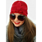 A1269 Women Angora hat, flower and flounce