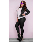 4237 Women Leggins, Plus Size, Bamboo, Matt Black