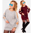 A895 Autumn Women Sweater Dress, Showy Holes