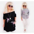 N053 Tunic Oversize, Blouse, Plus Size, Flowers