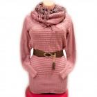 Frauen Pullover mit Schal und Gürtel, UNI, D14123