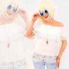 R85 Romantic blouse with guipure, Open Shoulders