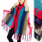 A1224 Double-sided XXL Shawl, Plaid, Loose Weave