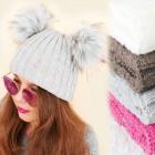Damenschalmütze, 2 Pompons, Manschette, 4179