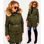 4418 Winter Women Jacket with Fur, Khaki