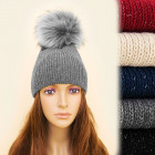 FL634 Winter, Warm Hat, Large, Fur Pompon