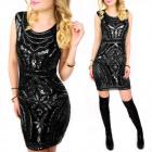 C24209 Sequined Dress, Dreamlike Look, Black