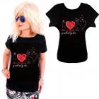 K587 Cotton T-Shirt , Top, I Love Cats, Black