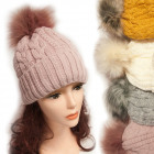 Winter Hat With Fleece, Fur Pompom 5038