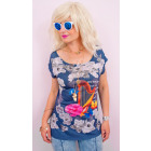 C11501 Colorful Top, Blouse, Print: harp and rose