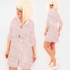 R98 Tied Dress, Loose Tunic, White & Dots