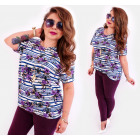 4519 Colorful Plus Size Woem Blouse, Belts & Roses