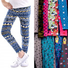 4453 Leggings for Girl, 104-152, Colorful Patterns