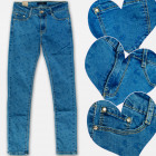 A19195 Pants Girls Jeans, Pattern Hearts, 6-14