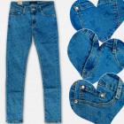 A19195 Hosen Mädchen Jeans, Herz Muster, 6-14