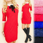 BI607 Elegant lace dress, Showy collar and cuffs