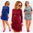 D1485 Loose dress with lace, melange tunic