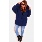 EM21 Women Navy Plus Size Jacket, Kimono, Boucle