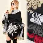 A1207 Poncho double face, Cape, Roses inhabituelle