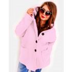 EM23 Women Plus Size Jacket, Kimono, Boucle Pink