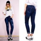 B16666 Beautiful Jeans with Patches, Classic Blue
