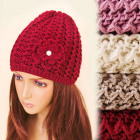 C17446 2 - Layered Cap, Big Flower with Pearl
