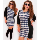 4396 Pencil Dress, Slim Plus Size, Zigzags