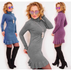 D1481 Elegant cashmere dress with Golf & Frill