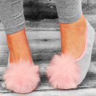 4328 Lovely Ladies Ballerina Slippers, Fur Tassel