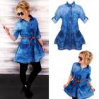 BI661 Denim Dress, Loose Flared Cut