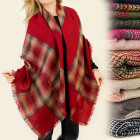 FL266 LOVELY shawl cape, PLAID, ponchos