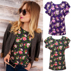 K482 Cotton Blouse, T-Shirt Top, Roses in Dots
