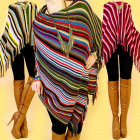 3651, Cuddly poncho, transverse stripes