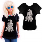 K588 Cotton T-Shirt , Top, Elephants, Black