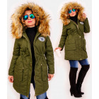 4416 Long Women Jacket with Fur, Green