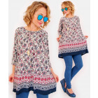 R47 Romantic Long Women Tunic, Arabesque Pattern