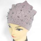 CZ12 warme Damenmütze mit Perlen und Strass